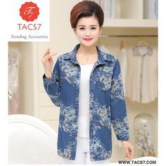 Middle Aged Women Long Sleeve Printed Cotton Denim Jacket Overcoat Jean  Coats Plus Size Ladies Outwear B276 44ac33547