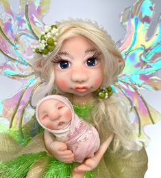 Magical Images, Clay Fairies, Fairy Figurines, Baby Fairy, Polymer Clay Dolls, Fairy Dolls, Pixies, Big Eyes, Fantasy Creatures