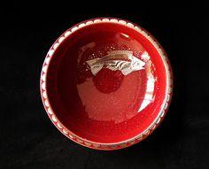 Moderna uma outra nem tanto: Taça art déco Argenta com peixe - Gustavsberg