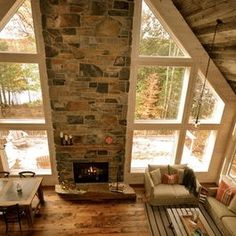 floor to ceiling fireplaces between windows | Floor to ceiling fireplace and windows