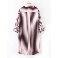 Dolphin Hem Striped Shirt Dress (1.020 RUB) ❤ liked on Polyvore featuring dresses, summer shirt dresses, long-sleeve shirt dresses, three quarter sleeve dresses, short shirt dress and short summer dresses