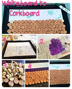 Used a cheap whiteboard and wine corks to make a bulletin board.