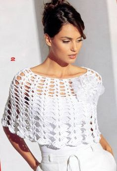 Poncho blanco de ganchillo con gráficos - Crochet Poncho with white graphics