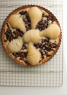 Poached Pear Almond Tart with Figs