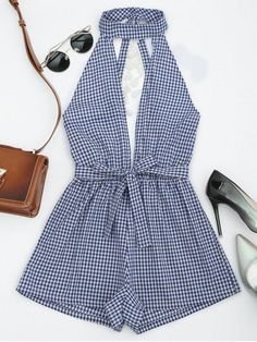 Gamiss Women Sleeveless Summer Beach Rompers Women Backless Jumpsuits Ladies Sexy Vertical Plaid Backless Cutaway Rompers - Jumpsuits and Romper Rompers For Teens, Rompers Women, Jumpsuits For Women, Jumpsuits And Playsuits, Casual Playsuits, Cute Rompers, Cute Summer Outfits, Trendy Outfits, Cute Outfits