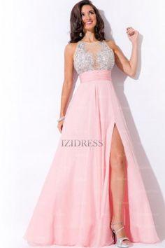 A-Line/Princess Jewel Chiffon Floor-length Prom Dress - IZIDRESSES.com at IZIDRESSES.com