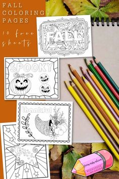 These fun, fall pages will offer your children an opportunity to relax while coloring. You will find 10 free designs. Printable Banner, Printable Crafts, Free Printables, Fall Coloring Pages, Different Shades Of Red, Printable Activities For Kids, School Signs, Autumn Crafts, Free Printable Coloring Pages