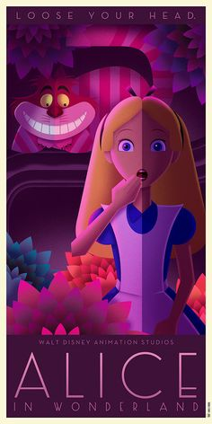 Alice in the Wonderland - Disney Art Deco poster - David Ferrero Disney Pixar, Walt Disney, Deco Disney, Animation Disney, Disney And Dreamworks, Disney Love, Disney Magic, Disney Art, Disney Villains