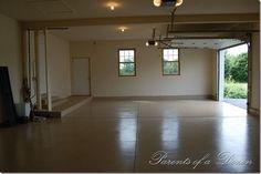 Parents of a Dozen: How to Epoxy a Garage Floor Epoxy Floor Basement, Basement Flooring Options, Garage Floor Epoxy, Best Flooring, Flooring Tiles, Garage Flooring, Illinois, Flooring Companies, Garage Makeover
