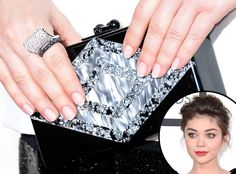 Sarah Hyland The Modern Family star paired her simple black and white dress with the art deco-style JEAN Clutch by Edie Parker. #Grammys 2014