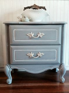 Vintage French provincial nightstand by, cottage chic furniture.