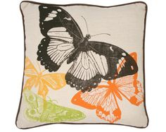 Brown, Orange, Yellow, Green Butterfly pillow