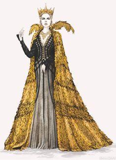 Ravenna (Sharlize Theron) O caçador e a rainha do gelo, figurino, capa dourada vestido preto
