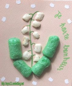Lilly of the Valley with packaging peanuts Stem Activities, Activities For Kids, Diy For Kids, Crafts For Kids, Mushroom Crafts, 1. Mai, Bricolage Halloween, Love Lily, Church Crafts