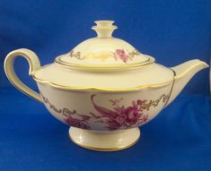 Royal Tettau Konigl pr Tettau Tea Pot  - Purple Flowers Gold Scrolls - Germany | eBay