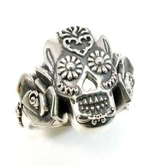 Sugar Skull Ring - Sterling Silver - Art Nouveau. $295.00, via Etsy. --> I want this SO bad! On my Christmas list for sure!