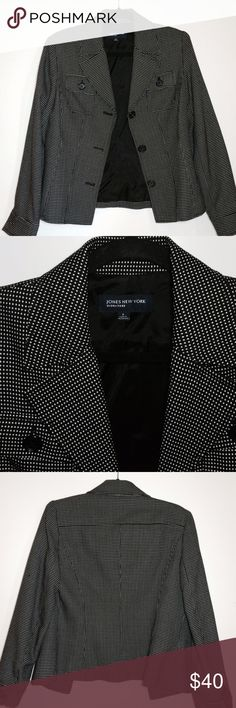 Jones New York Signature Suit Jacket Blazer Looks like new!  No flaws or wear at all. Black with small white print. Single breasted. Feels like sturdy lighter weight wool, but is a poly blend. Can be worn year round!  Sooo versatile and nice!  Size 6. No trades. Jones New York Jackets & Coats Blazers