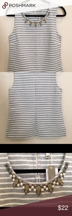 J. Crew Striped Top Classy gray and white striped top with jeweled neckline. You can wear this to the office (just add a cardigan!), for a Saturday shopping trip or dress it up with leather leggings for an evening out! Tags still attached, never worn. J. Crew Tops