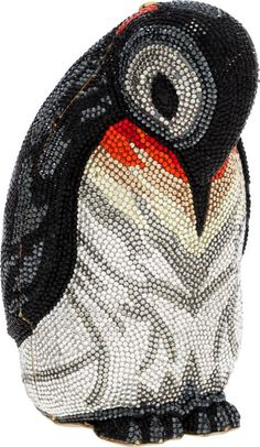 Judith Leiber Full Bead Multicolor Crystal Penguin Minaudiere Evening Bag