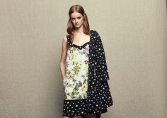 Model wears Naughty Dog SS17 mini dress with flowers & stars prints & its matching jacket