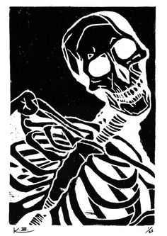 Skeleton Woodcut Print, 420mm x 297mm, Signed Print, Skeleton Lino Print, Human…