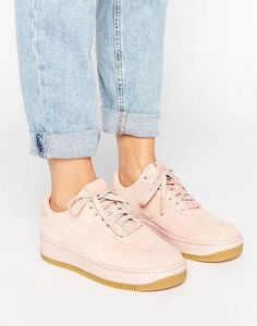 Nike Air Force 1 Upstep Premium Trainers In Pink Suede 338025ff7942
