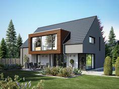 Haus ALTO SD.400.2 • Effizienzhaus von Heinz von Heiden • Schickes Massivhaus mit bodentiefen Fenstern, großzügigem Erker und brauner Zierholzfassade.