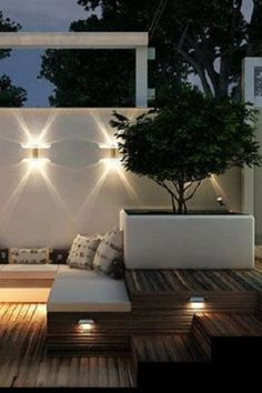Backyard - Wood decking , white rendered walls and raised contemporary planter - fabulous garden/patio lighting Outdoor Areas, Outdoor Rooms, Outdoor Living, Outdoor Decor, Australian Lighting, Contemporary Planters, Patio Lighting, Lighting Ideas, Ceiling Lighting