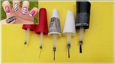 COMO FAZER 5 PINCÉIS PARA DECORAR AS UNHAS (Passo a Passo) | Gersoni Rib... Nail Salon Design, Pedicure, Nail Designs, Nail Art, Make It Yourself, Nails, Diy, Facebook, How To Make