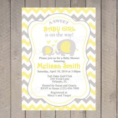 Yellow Elephants Baby Shower Invitation, Girl or Boy Baby Shower, Yellow and Grey, Chevron, Mom and baby Elephant, Printable - 055
