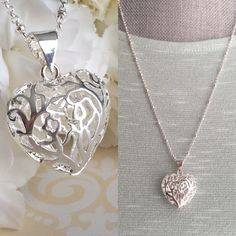 Silver Heart Necklace Large Heart Pendant by CotonLilyCreations