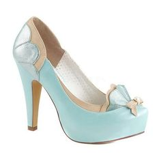 Women's Pin Up Couture Bettie Hidden-Platform Pump Baby Blue-Tan Faux