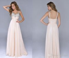 Wholesale Evening Gowns - Buy Elegant Beige Long Prom Dresses With Spaghetti Strap Backless Beaded Ball Gown Floor Length Style And Chiffon Material For Wedding Party, $124.61 | DHgate