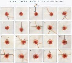 рельефная вышивка рококо, классическая роза рококо, мастер-класс, мк, МК, схема