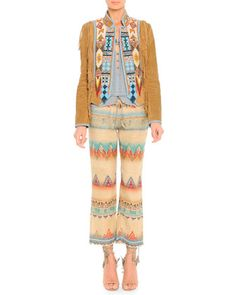Suede Fringe Jacket with Geometric Beading, Lace-Trim Beaded Camisole & Santa Fe Printed Linen-Blend Cropped Pants by Etro at Bergdorf Goodman.