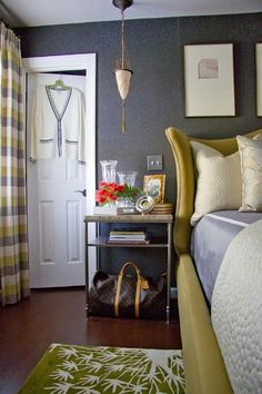 Yellow Headboard - Transitional - bedroom - Christopher Patrick Interiors