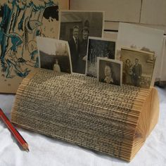 Recycled Book Desk Tidy Business Card Holder or Vintage Photo Frame  I'm pretty sure I could make one like this, great idea!!!