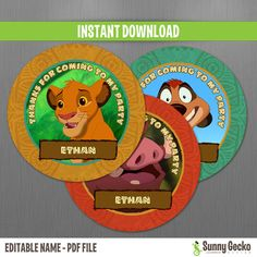 The Lion King Favor Tags  Instant Download and by SunnyGeckoDesign