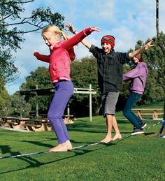 Slackline -- A wide strip of webbing attached to two fixed objects provides balancing practice and tons of fun!