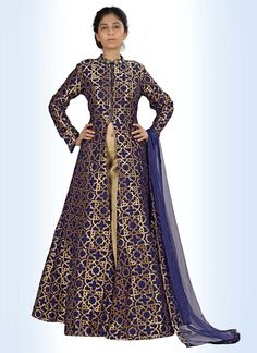 Add a small burst of shade to the wardrobe with this  raw silk indo western. The…