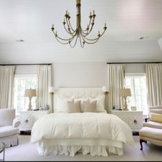 An all white bedroom design can be cozy and serene, adding textures and patterns and layering varying shades of white can create a dreamy bedroom aesthetic. White Bedroom Design, All White Bedroom, Dream Bedroom, Home Bedroom, Bedroom Furniture, Bedroom Decor, Bedroom Designs, White Bedrooms, Bedroom Ideas