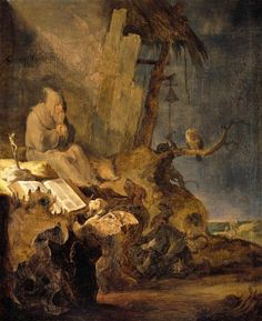 """abystle: """" Saint Anthony with demons and an owl, Cornelis Hermansz Salfleven (1607-1681). """""""