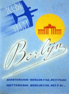 This poster was part of a contest issued by Albert Plesman in 1935. The bottom caption tells us that the fare for a round trip Amsterdam – Berlin was 75.60 Guilders (the Dutch currency before the Euro) which is around 34.31 Euro