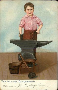 TUCK Little Men and Women Village Blacksmith Little Boy Old Tools c1910 PC