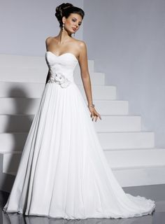 Chic A-line sleeveless chiffon wedding dress $280.80. Easy on the flowers tho