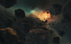 Artist depicts an asteroid field >> Against The Wind by Rokis17 #scifi