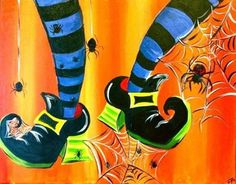 legs art painting oil on canvas ; painting legs on canvas Halloween Canvas, Halloween Painting, Halloween Crafts, Halloween Stuff, Halloween Shoes, Halloween Fonts, Halloween Potions, Halloween Pictures, Holiday Crafts