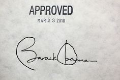 """""""After the President signed the health insurance reform bill, Robert Gibbs asked me if I could have someone take a close-up photograph of the President's signature. The President signed the bill with 22 different pens."""" (Official White House Photo by Chuck Kennedy)"""