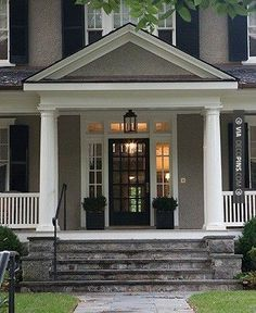 So awesome! - grey, black, white.. and one amazing front porch. | CHECK OUT MORE PORCH AND SCREEN DOOR IDEAS AT DECOPINS.COM | #porch #porches #screendoor #screendoors #outside #exterior #homedecor #porching