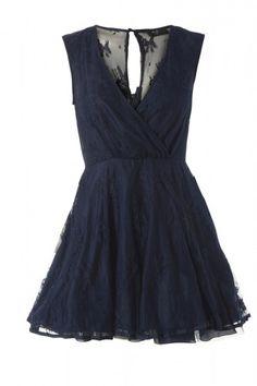 Wrap V Front Lace Kickout Navy Dress